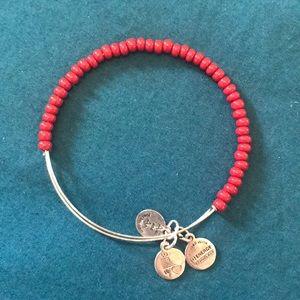 Silver & Red Beaded Alex & Ani Bracelet